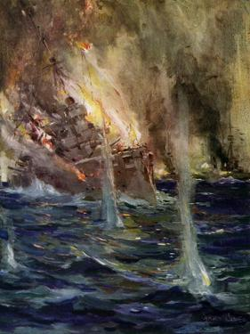 World War I- The sinking of the Gneisenau by Cyrus Cuneo