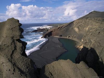 Green Pool, Lava Mountains, El Golfo, Lanzarote, Canary Islands, Spain, Atlantic