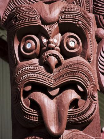 Maori Wooden Carving with Tongue Sticking Out, Rotorua, North Island, New Zealand