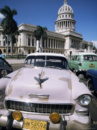 Parliament House and 1950s American Cars, Havana, Cuba, West Indies, Central America