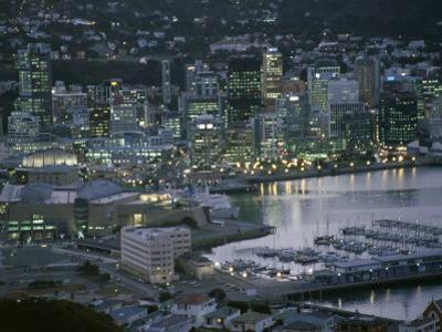 Te Papa Museum Marina and City Lights in the Evening, Wellington, North Island, New Zealand