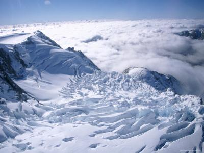 View of the Top of Fox Glacier, Westland, West Coast, South Island, New Zealand