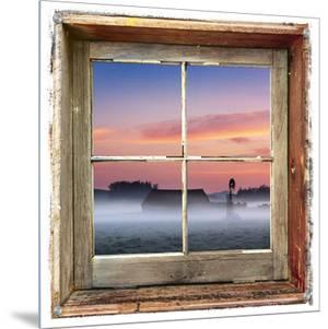 Farmyard Sunrise Viewed Through an Old Window Frame by D.M.