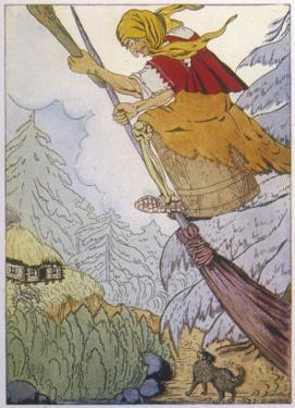 Baba Yaga the Witch There She was Beating with the Pestle and Sweeping with the Besom by D. Mitrokhin