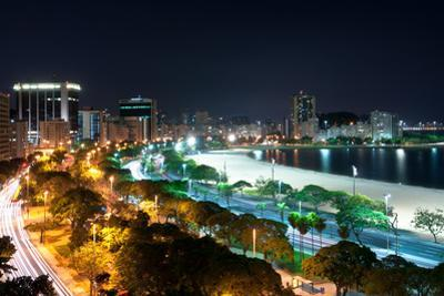 Night View of Botafogo Beach and Guanabara Bay in Rio, Brazil by dabldy