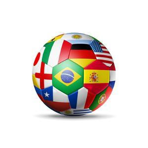 Brazil 2014,Football Soccer Ball with World Teams Flags by daboost