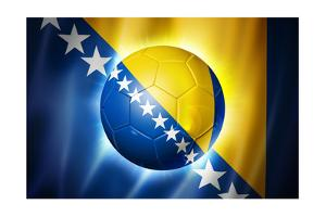 Soccer Football Ball with Bosnia and Herzegovina Flag by daboost