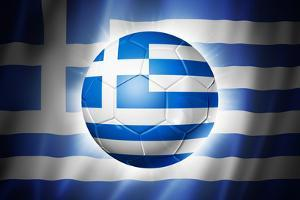 Soccer Football Ball with Greece Flag by daboost
