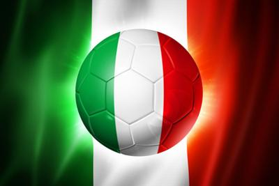 Soccer Football Ball with Italia Flag
