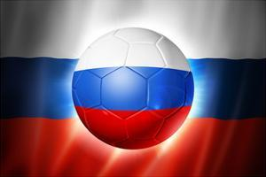Soccer Football Ball with Russia Flag by daboost