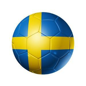 Soccer Football Ball With Sweden Flag by daboost
