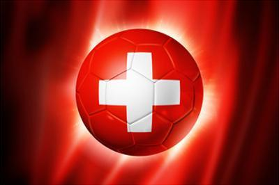 Soccer Football Ball with Switzerland Flag