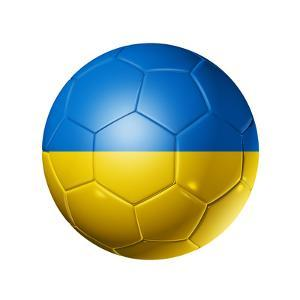Soccer Football Ball With Ukraine Flag by daboost
