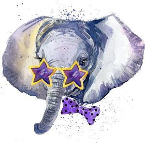 Baby Elephant T-Shirt Graphics. Baby Elephant Illustration with Splash Watercolor Textured Backgrou by Dabrynina Alena