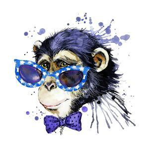 Monkey T-Shirt Graphics. Monkey Illustration with Splash Watercolor Textured Background. Unusual Il by Dabrynina Alena