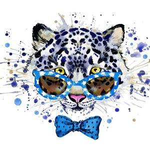 White Leopard T-Shirt Graphics. Cool Leopard Illustration with Splash Watercolor Textured Backgrou by Dabrynina Alena