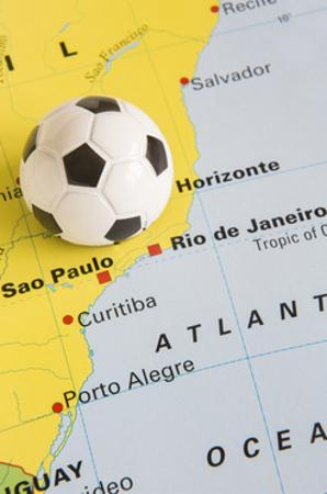 Football on Map of Brazil to Show 2014 Rio FIFA World Cup Tournament by Daisy Daisy