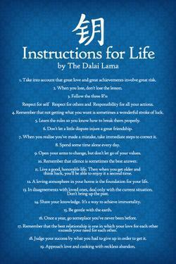 Dalai Lama Instructions For Life Blue Motivational Poster Art Print