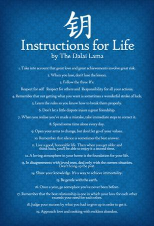 Dalai Lama Instructions For Life Blue Motivational Poster