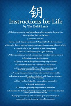 Dalai Lama Instructions For Life Blue Motivational Poster