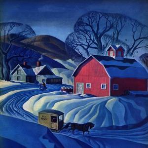 """Mail Wagon in Snowy Landscape,"" March 14, 1942 by Dale Nichols"