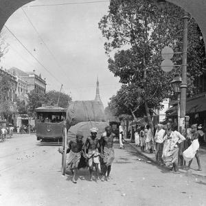 Dalhousie Street, Busiest in the City, Rangoon, Burma, 1908