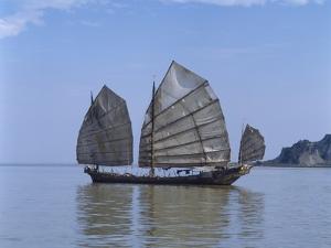 Chinese Junk, South China Sea, China by Dallas and John Heaton