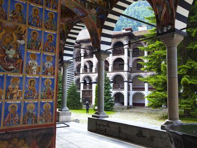 Arcade Murals Depicting Religious Figures, Church of the Nativity, Rila Monastery, UNESCO World Her