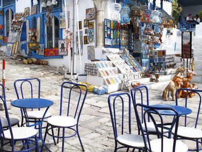 Cafe and Souvenir Shop, Sidi Bou Said, Tunisia, North Africa, Africa