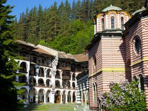 Courtyard, Dormitories and Church of the Nativity, Rila Monastery, UNESCO World Heritage Site, Nest by Dallas & John Heaton