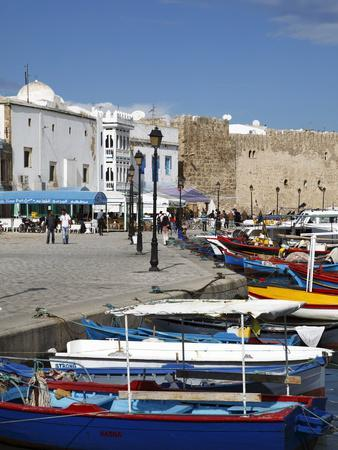 Fishing Boats, Old Port Canal With Kasbah Wall in Background, Bizerte, Tunisia