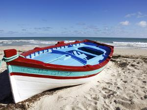 Small Boat on Tourist Beach the Mediterranean Sea, Djerba Island, Tunisia, North Africa, Africa by Dallas & John Heaton