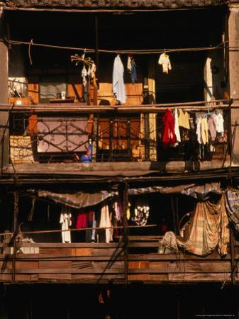 Balconies of Apartment Building in Sheung Wan, Hong Kong