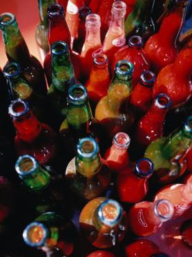 Bottles of Fresh Tomato Sauce, Malfa, Sicily, Italy by Dallas Stribley