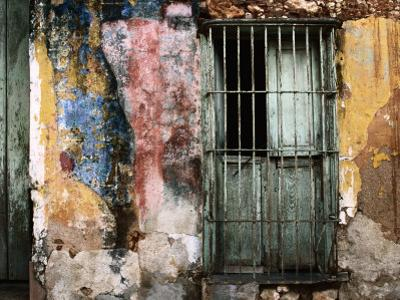 Detail of Colourful Weathered Doorway, Window and Wall