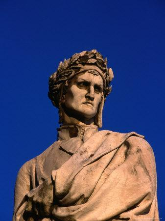 Detail of Statue of Poet Dante Alighieri in Piazza Di Santa Croce, Florence, Tuscany, Italy