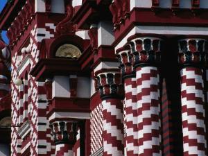 Detail of Striped Jami-Ul-Alfar Mosque in Pettah Bazaar Area, Colombo, Sri Lanka by Dallas Stribley