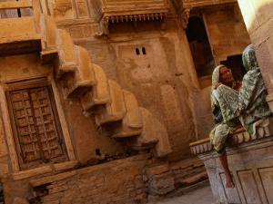 Pair of Women Chatting at Jaisalmer Fort, Jaisalmer, Rajasthan, India by Dallas Stribley
