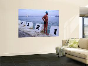 Swimmer Standing at Blocks of Merewether Ocean Baths by Dallas Stribley