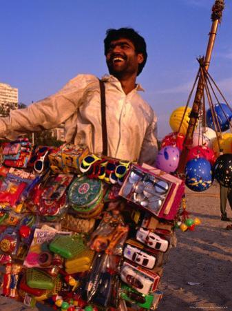 Toy Vendor and Merchandise on Chowpetty Beach, Mumbai, Maharashtra, India