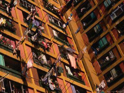 Washing Hanging Outside Windows at High-Rise Housing Estate, Aberdeen, Hong Kong