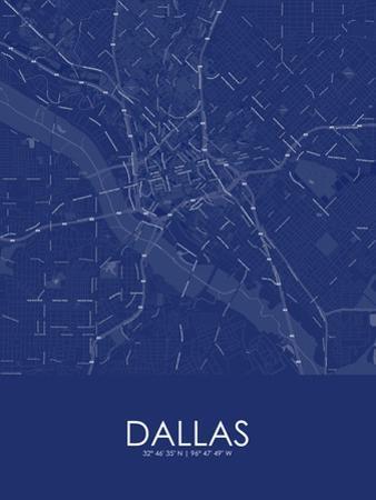 Dallas, United States of America Blue Map