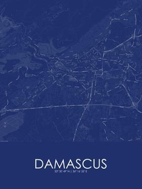 Damascus, Syrian Arab Republic (Syria) Blue Map