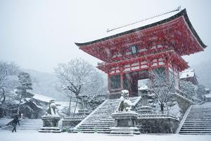 Entrance gate of Kiyomizu-dera Temple during snow storm, UNESCO World Heritage Site, Kyoto, Japan, by Damien Douxchamps