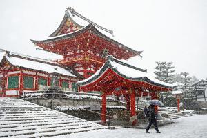 Heavy snow on Fushimi Inari Shrine, Kyoto, Japan, Asia by Damien Douxchamps