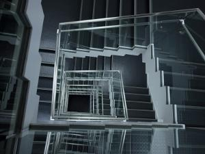 Modern Staircase with Glass Balustrade, Akihabara by Damien Douxchamps