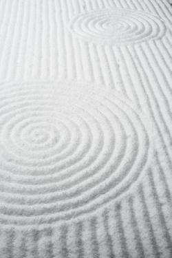 Patterns in snow-covered rock garden, Tofuku-ji Temple, Kyoto, Japan, Asia by Damien Douxchamps