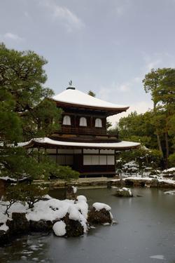 Snow-covered Silver Pavilion, Ginkaku-ji Temple, Kyoto, Japan, Asia by Damien Douxchamps