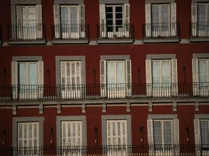 Balconies Overlooking Plaza Mayor, Madrid, Spain by Damien Simonis