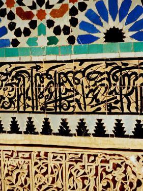 Decorative Tile Work on Mausoleum in Garden of Saadan Tombs, Marrakesh, Morocco by Damien Simonis